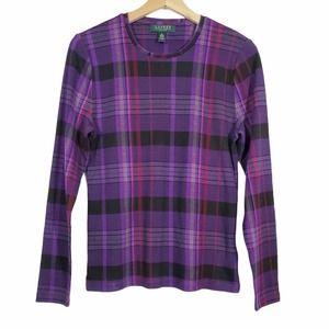 Long Sleeve Purple Plaid Crew Neck T-shirt Size PL